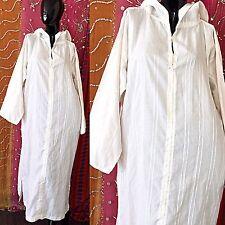Vintage 70s India Gauze Dress White Boho Embroidered Caftan Festival Hippie Maxi