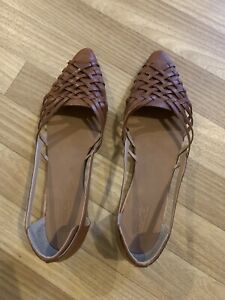 TOPSHOP WOMENS REAL LEATHER TAN CUT OUT SHOES-SIZE 8-WORN ONCE!!