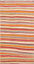 Hand-Woven Striped Color-Full Contemporary Kilim Abadeh Area Rug 6'x11' Oriental