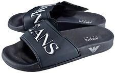 00b33543a554 NWT ARMANI JEANS FLAT SLIP SANDALS Navy slipper slides logo Italy eu 40 us 7