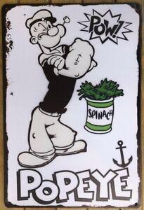 POPEYE  Rustic Look Vintage Metal Tin Sign MAN CAVE Shed Garage & Bar Sign