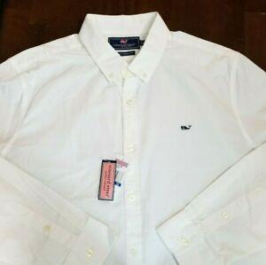 Vineyard Vines Mens XL White Slim Fit Whale Shirt Long Sleeve 100% Cotton NWT