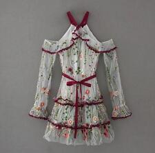fashion woman off shoulder mini dress flower printed ruffled chiffon short dress