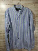 Ralph Lauren Classic Fit Mens Button Down Shirt 17 XL Blue Green Red Stripe