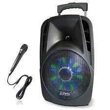 PARTY-8LED Akku Lautsprecher DJ Box Anlage Bluetooth MP3 USB SD Mikro Karaoke