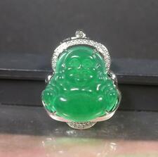 White Gold Plate Green JADE Pendant Buddha God Necklace Diamond Imitation 100107