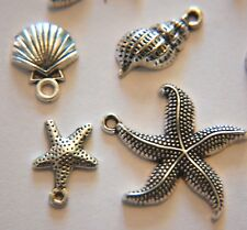 SEASIDE Charm MIX ~ 12 charms ~ Antiqued Silver Pl ~ Starfish Shell - 4 designs