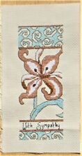 WITH SYMPATHY FLOWER COMPLETED COUNTED CROSS STITCH HANDMADE