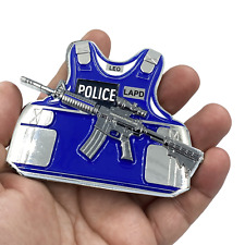 """4"""" LAPD LOS ANGELES POLICE M4 BODY ARMOR 3D CHALLENGE COIN"""