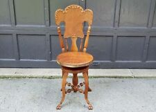 1890s Victorian Antique Holtzman Cherry Wood High Back Piano Stool Chair