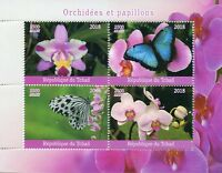Chad Flowers Stamps 2018 MNH Orchids & Butterflies Butterfly Orchid 4v M/S