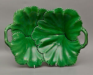 COPELAND Green Glazed STAFFORDSHIRE POTTERY Creamware C1847-67 Leaf Dish Tazza