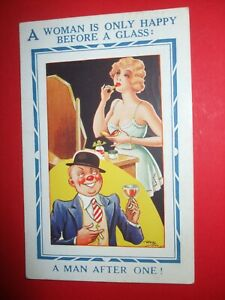 1940 Reg Maurice COMIC Glamour lady underwear LIPSTICK happy before a glass