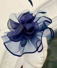 Navy Blue Satin Fascinator With Feathers And Flower Nwt