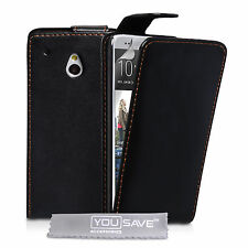 HTC One mini PU Flip Leder schwarz Magnet Case Cover + Gratis Displayschutzfolie