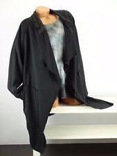 Cardigan Überwurf Mantel Vintage Lagenlook Taschen Wasserfall Gr. 46-52 schwarz