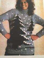 Knitting Pattern Christmas Tree Sweater/Jumper Chunky 32-42