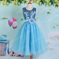 Princess Flower Girl Sequin Pageant Party Wedding Bridesmaid Prom Dress 2-12 Yrs