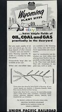 UNION PACIFIC RAILROAD 1951 WYOMING PLANT SITES OIL & COAL & GAS IN DOORYARD AD