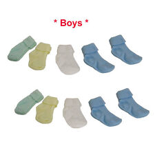 LOT Infant Baby Boys 0-9 Mo Turn Cuff Solid Crew Socks 12 ASSORTED PAIR NEW BLUE