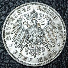 1914 E GERMANY EMPIRE - FUNF MARK (5) - SILVER -Friedrich August Konig V Sachsen