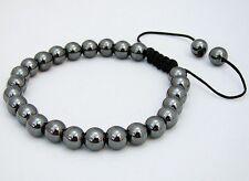Men's Macrame Bracelet  all 8mm GUN METAL HEMATITE GREY beads