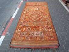 VINTAGE ANTIQUE MOROCCAN WOOL CARPET RUG HAND MADE 325x135-cm/127.9x53.1-inches
