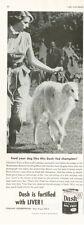 1953 Dash Dog Food Print Ad Feat: Champion Borzoi Kahn of Romanoff Anne Rogers