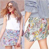 Zara Grey Floral Tropical Wrap Mini Skirt Size 8 10 UK 4 6 US S M Blogger ❤
