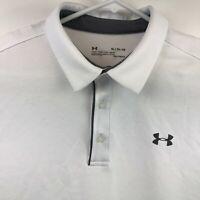 Under Armour Mens Loose Heatgear Short Sleeve White Polo Shirt Size XL