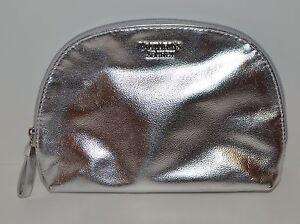 VICTORIA'S SECRET SHINY METALLIC SILVER BEAUTY MAKEUP COSMETIC BAG TRAVEL POUCH