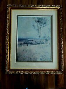 ARTHUR STREETON GOLD LARGE FRAMED PRINT NEAR HEIDELBERG 1890 AUSTRALIA  ART