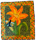 Handmade Quilt Wall Hanging Quilted Lily w/ Butterfly  Bright Orange, Green