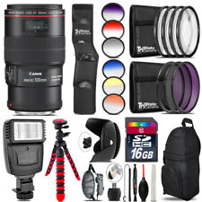 Canon EF 100mm 2.8L IS USM Lens + Flash + Color Filter Set - 16GB Accessory Kit