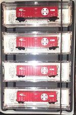 Z MTL 994 00 047 50ft Rib Side Box Car Plug Door ATSF Four Car Runner Pack