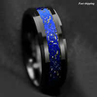 8mm Tungsten Carbide Ring Blue Celtic Dragon Black carbon fibre ATOP Men Jewelry