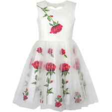 Girls Dress white Rose Flower Embroidery Heart Shape Back Wedding Size 7-14