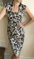 Gina Bacconi Occasion dress Pencil Wiggle Size 10 Grey Black Silver Layered Midi
