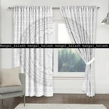 Indian Silver Ombre Mandala Cotton Drapes Window Home Door Treatment Curtain Set