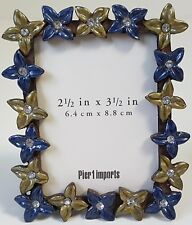 """Small Metal Floral Pier 1 Imports Floral Rectangular Picture Frame 2.5"""" x 3.5"""""""