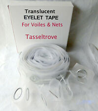 Curtain Eyelet Tape Translucent & snap on rings from £4.99 per for Voiles & Nets