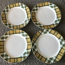 Spode Glen Lodge Tartan Tan Christmas Salad Appetizer Plate Set 4  ~ New ~