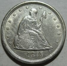 = 1875-S AU+ TWENTY Cent PIECE, Scratch by Date, Nice EYE Appeal, FREE SHIPPING