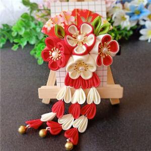 Kid Handmade Sakura Hair Clip Tsumami Zaiku Japanese Flower Clusters Right Decor