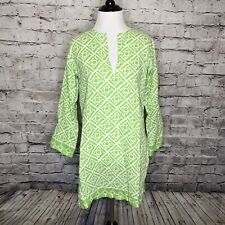 Barbara Gerwit Green White Geometric Print Split Neck Tunic Semi Sheer Size XS