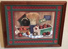"Homco Home Interiors Country Apples Picture Artist: Gamboa 16"" x 14"" Birdhouse"