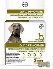 🐶Bayer Quad Dewormer Large Dogs 45lbs up Broad Spectrum Chewable 2 Bone Tablets