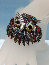 OWL ANIMAL SILVER BIG BANGLE CUFF BRACELET SPARKLING COLORFUL RAINBOW STONES NEW