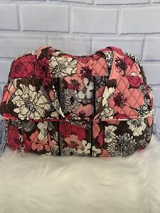 Vera Bradley Baby Diaper Bag Mocha Rouge Lined Interior Double Shoulder Straps