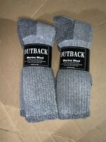 6 Pair Merino Wool Outdoor Life/Outback Cabela Boot Socks Men's 10-13  USA